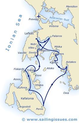 Zeilvakanties Ionische zee - Lefkas - route plaatje